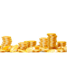 golden coins stacks lots money finance business vector image