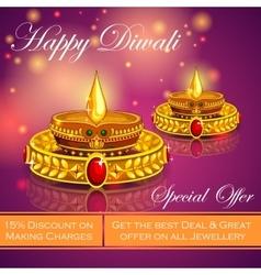 Happy diwali jewelery promotion background vector