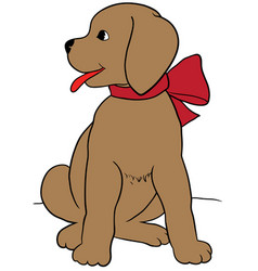 Happy puppy with a leash eps 10 vector