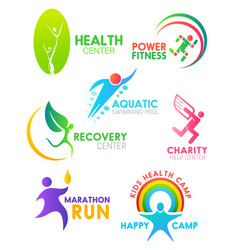 health fitness and run sport people icons vector image
