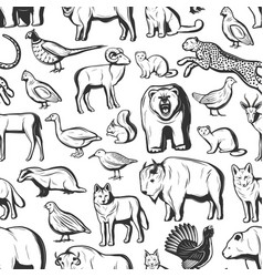 hunt season animals and birds seamless pattern vector image