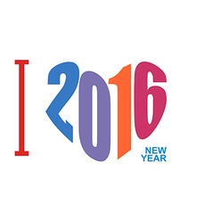 I love year 2016 Symbol heart of digits Logo for vector image