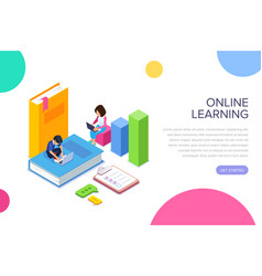 Isometric online learning or courses concept vector