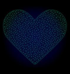 love heart polygonal frame mesh vector image