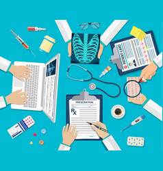 medical team doctors at desktop vector image