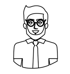 Monochrome contour half body of man with glasses vector
