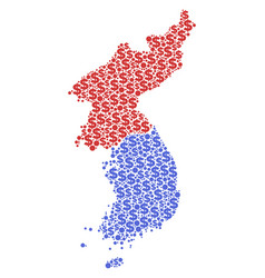 North and south korea map gdp collage of dollar vector