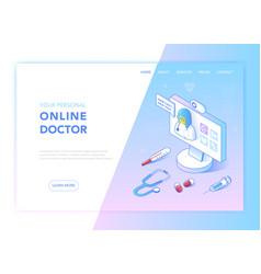 online medicine healthcare flat isometric design vector image