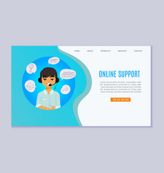 online support and consulting website with vector image