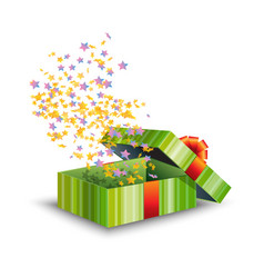 Opened green gift box with red bow and confetti vector