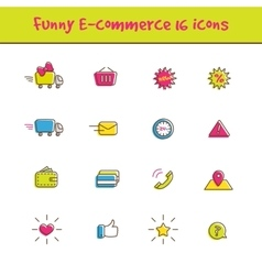 outline colorful 16 e-commerce icons set in vector image
