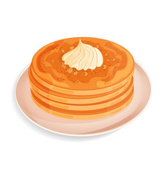 Pancakes with whipped cream or meringue on a plate vector