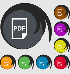 PDF Icon sign Symbols on eight colored buttons vector