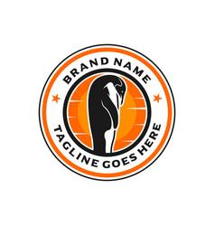 penguin stamp logo design template vector image