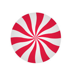 Peppermint cream candy spiral red and white form vector
