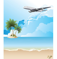 Plane flying over tropical landscape vector