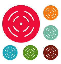 Point radar icons circle set vector