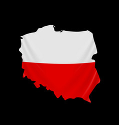 poland flag in form map republic poland vector image