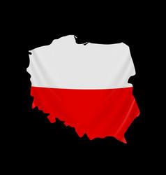 Poland flag in form map republic vector