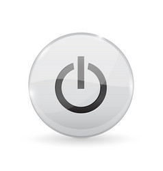 power button glass shiny 3d icon vector image