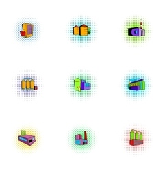 Production plant icons set pop-art style vector image vector image