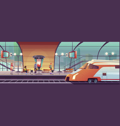 railway station with people waiting train vector image
