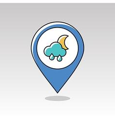 Rain Cloud Moon pin map icon Meteorology Weather vector image