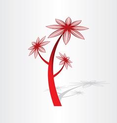 red flower plant design vector image