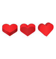 red isometric hearts love symbol vector image