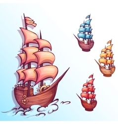 sail ship with label vector image