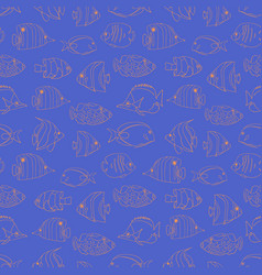 seamless pattern tropical fish coral blue vector image