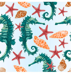 seamless texture mottled shells seahorse vector image