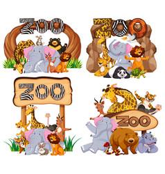 set animals at entrance sign vector image