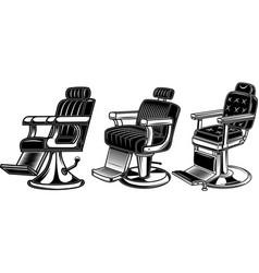 set barber chair design elements for logo label vector image