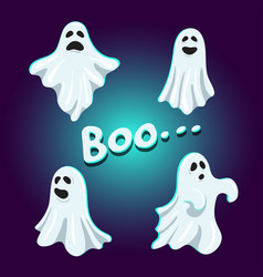 set cute boo ghost character vector image