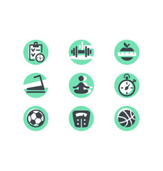 set icons with diet ball weight and planning vector image