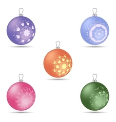 Set of five colorful Christmas balls of different vector image