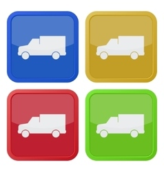 set of four square icons with lorry car vector image