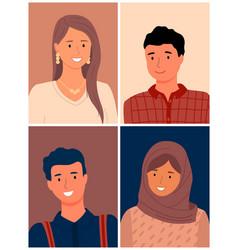 set people different races muslim vector image