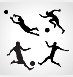 set silhouettes dynamic poses football vector image