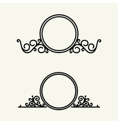 Set simple and graceful floral monogram vector