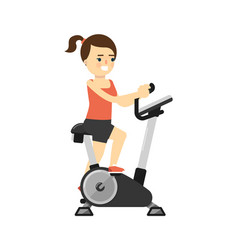 sporty smiling girl in sportswear on exercise bike vector image