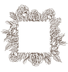 Square floral frame with roses black and white vector