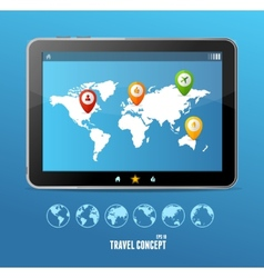 tablet map and globe set infographics vector image