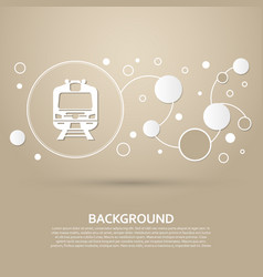 train icon on a brown background with elegant vector image