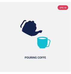 Two color pouring coffe icon from bistro and vector