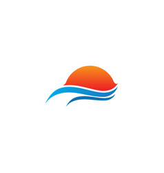 water ocean sunset landscape logo vector image