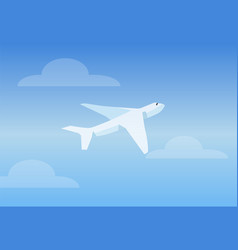 white aircruft in bright sky vector image