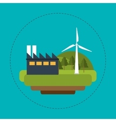 wind turbines industrial green energy vector image