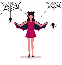 woman wearing bat costume holding wings happy vector image